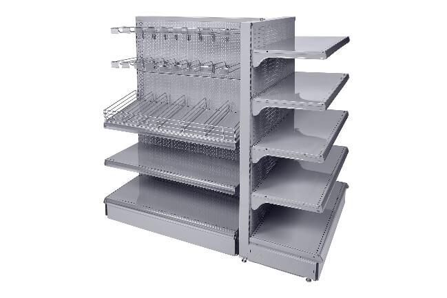 Gondole centrale fond perforé avec broches, tablettes avec façades et séparations fil, tête de gondole